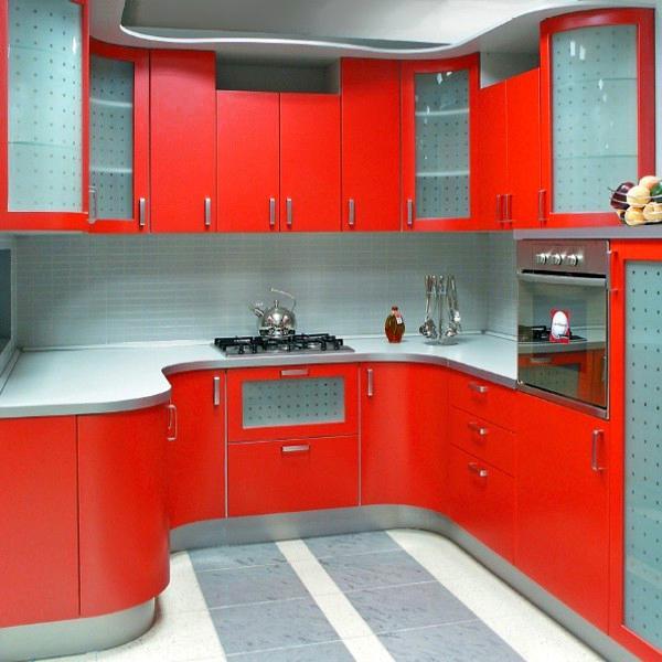Déco cuisine rouge et grise