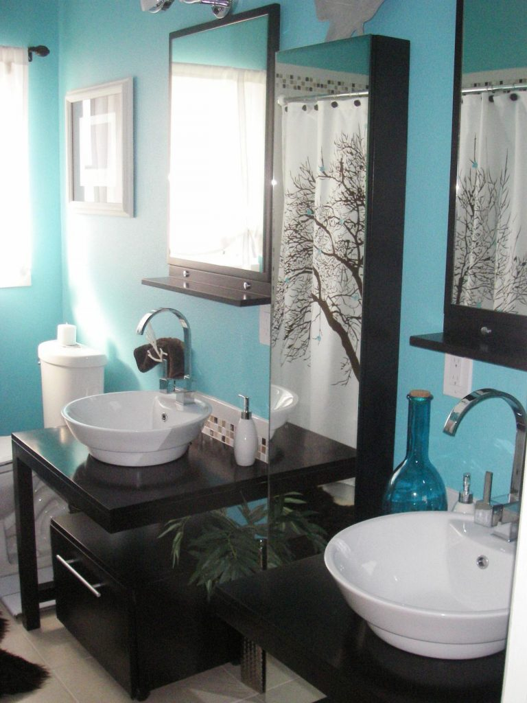 Carrelage Salle De Bain Bleu Turquoise gris et bleu: deux couleurs en osmose dans la salle de bain (23 idées déco)