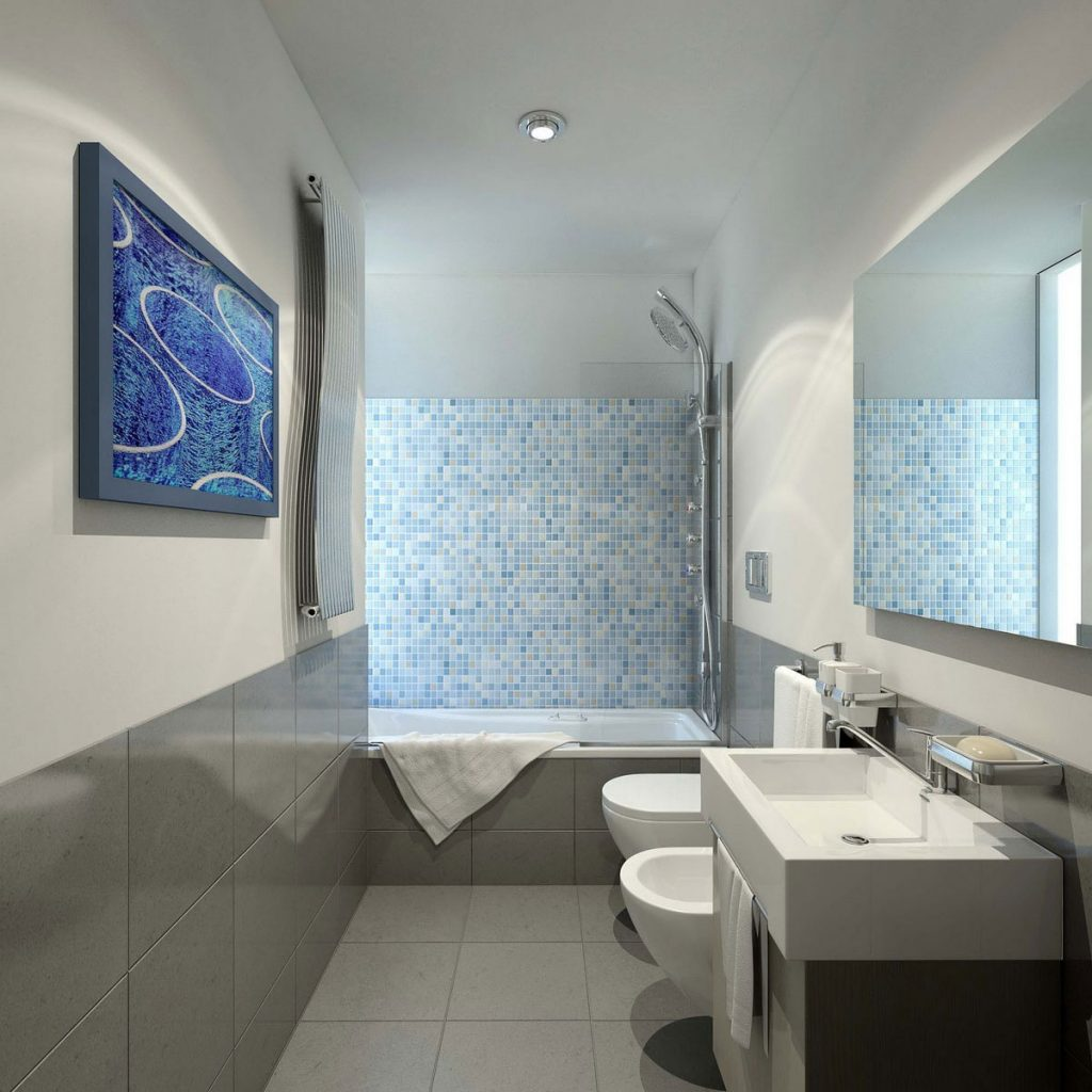 Gris et bleu: deux couleurs en osmose dans la salle de bain (23 idées déco)