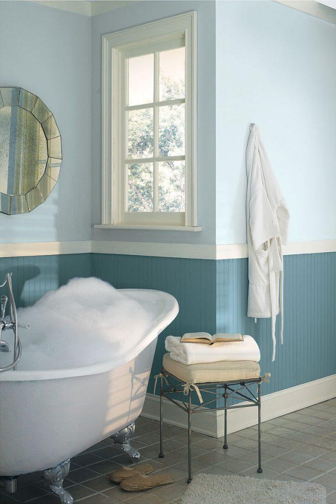 gris et bleu  deux couleurs en osmose dans la salle de bain  23 id u00e9es d u00e9co