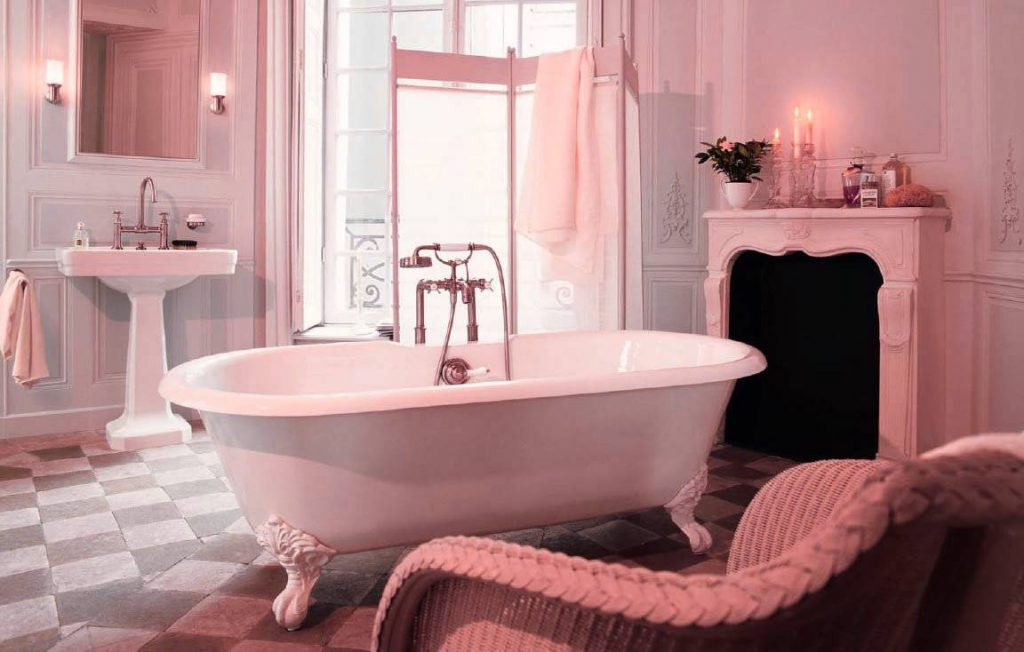 20 id es de salle de bain rose du carrelage aux murs. Black Bedroom Furniture Sets. Home Design Ideas