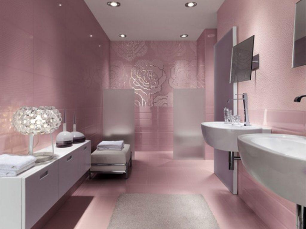20 idées de salle de bain rose du carrelage aux murs - Carrelage Salle De Bain Rose
