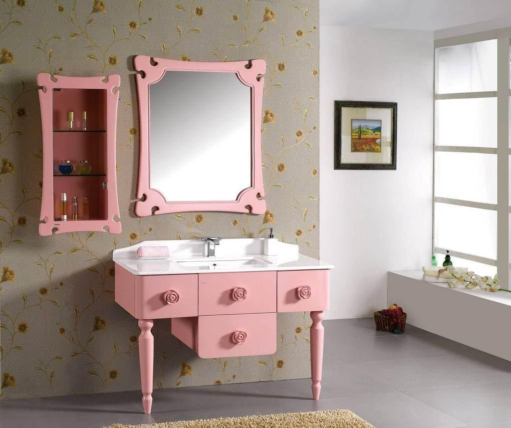 20 id es de salle de bain rose du carrelage aux murs for Meuble pour chambre de bain