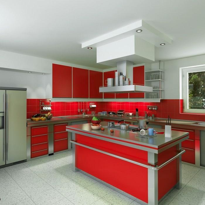 cuisine rouge et blanche 35 id es d co toniques pour une. Black Bedroom Furniture Sets. Home Design Ideas