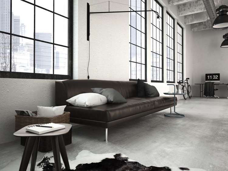 50 salons et salles manger de style loft ou industriel for Salon style loft