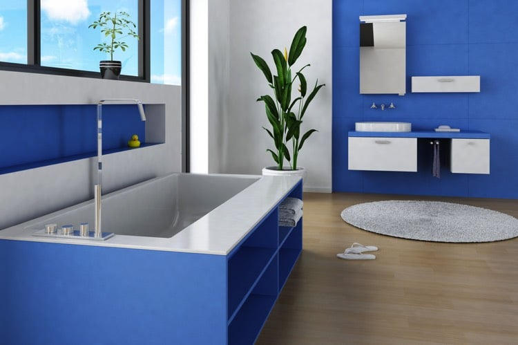 salle de bain bleue 101 id es originales pour votre d co. Black Bedroom Furniture Sets. Home Design Ideas