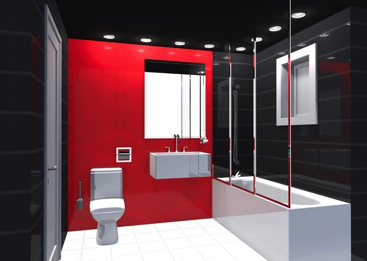 Awesome Salle De Bain Rouge Et Noir Pictures - Amazing House Design ...