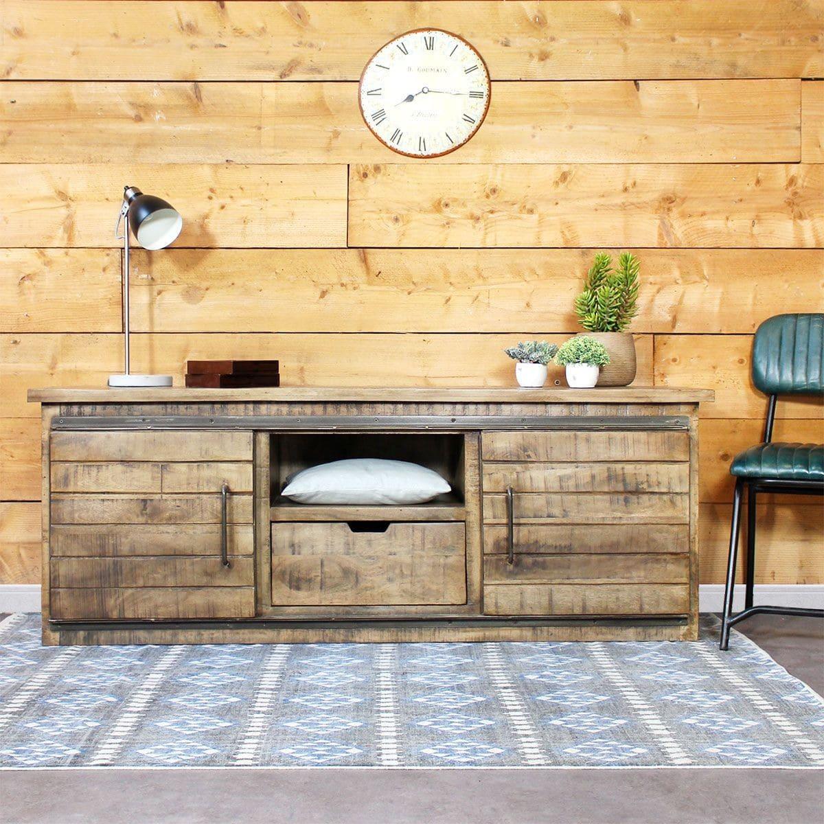 Meuble Tv Industriel 40 Id Es Et Mod Les 100 D Cal S # Table Tv En Bois Palettes Pour Chambre