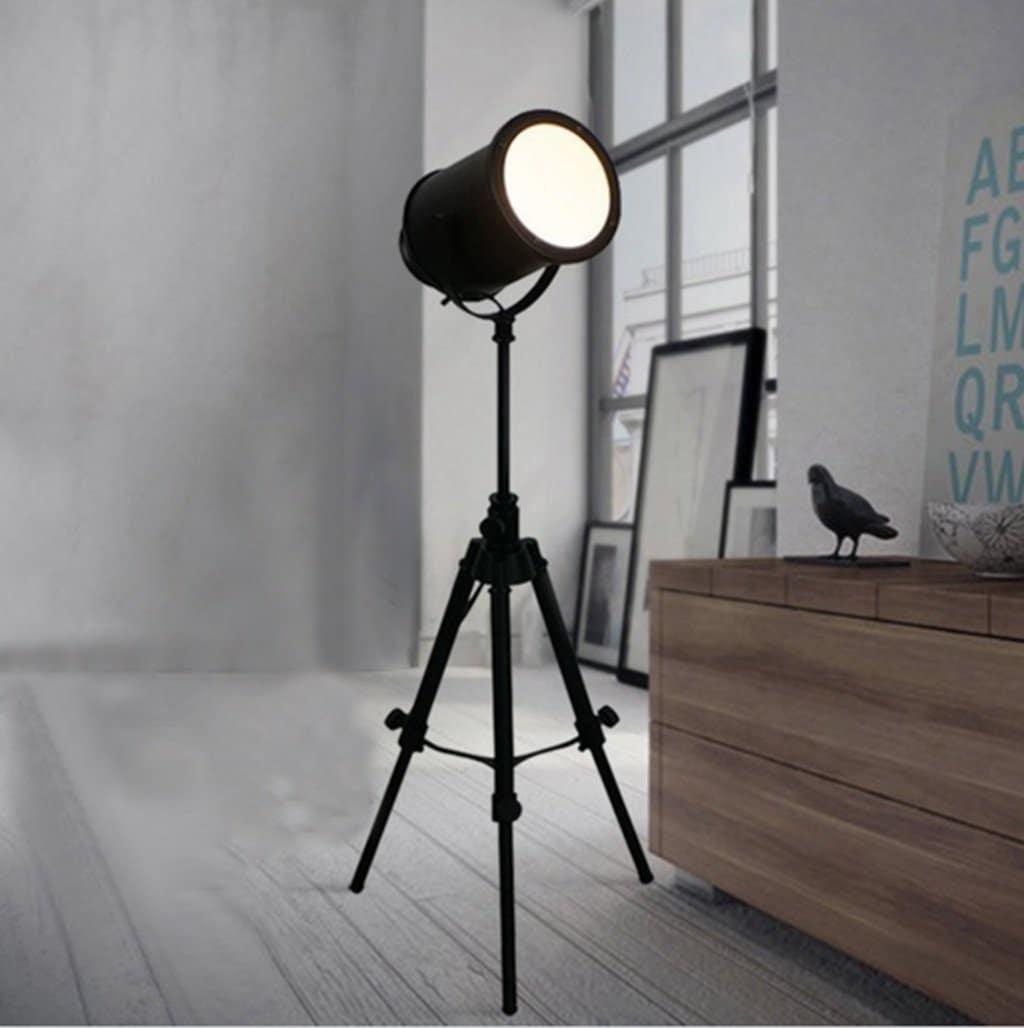 Lampe industrielle, lampadaire salon bois, lampe sur pied design