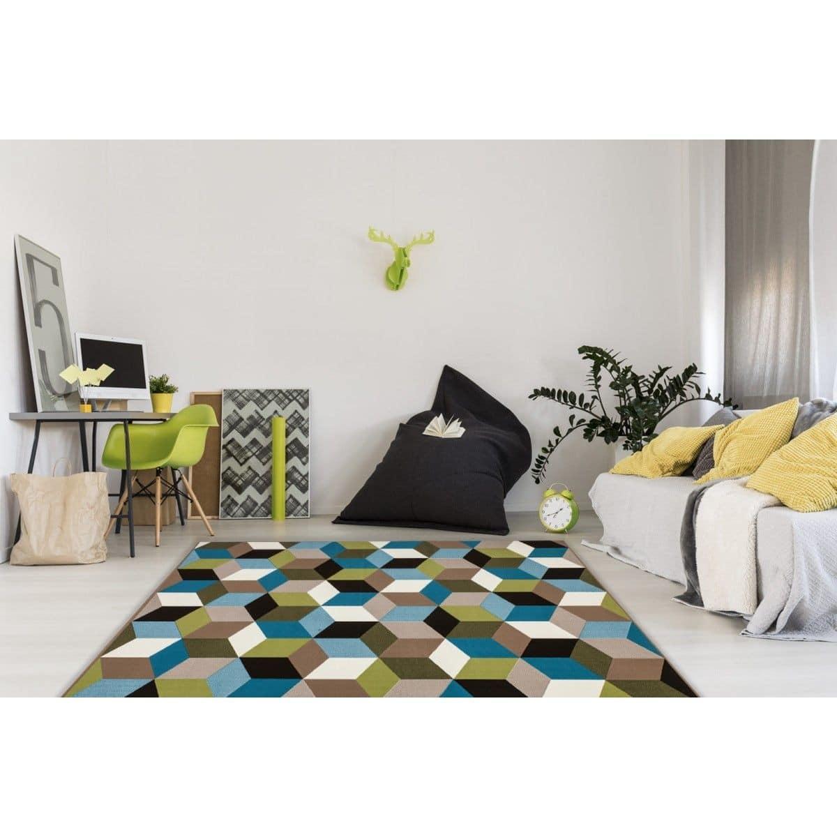 Tapis géométrique style scandinave multicolore