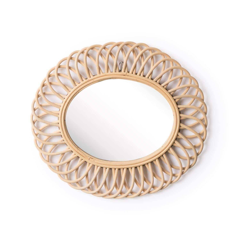 miroir oval en rotin tressé