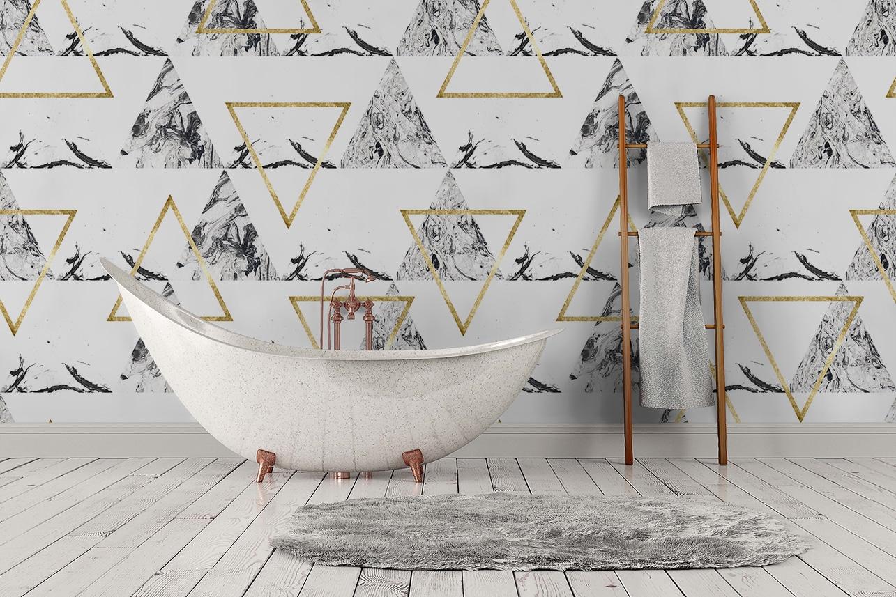 choix et pose du papier peint dans votre salle de bains. Black Bedroom Furniture Sets. Home Design Ideas