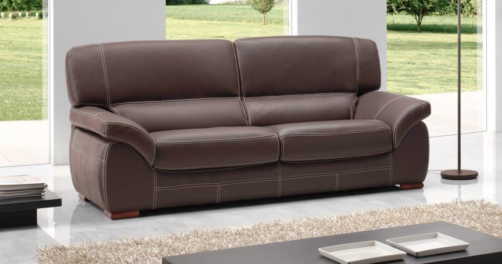 Canapé en cuir pleine fleur marron