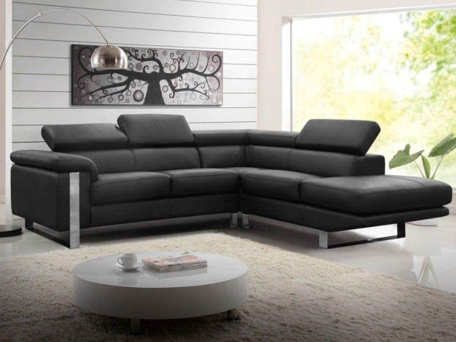Canapé en cuir d'angle noir