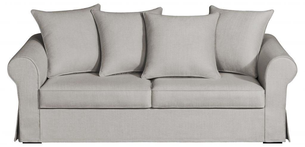 Un canapé en tissu bon marché dans des coloris gris / beige
