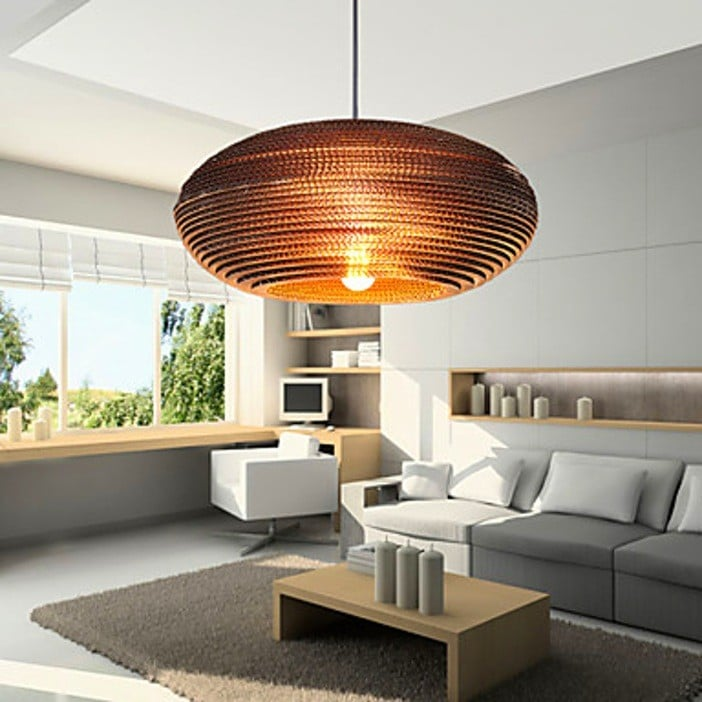 lustre design orange pour le salon