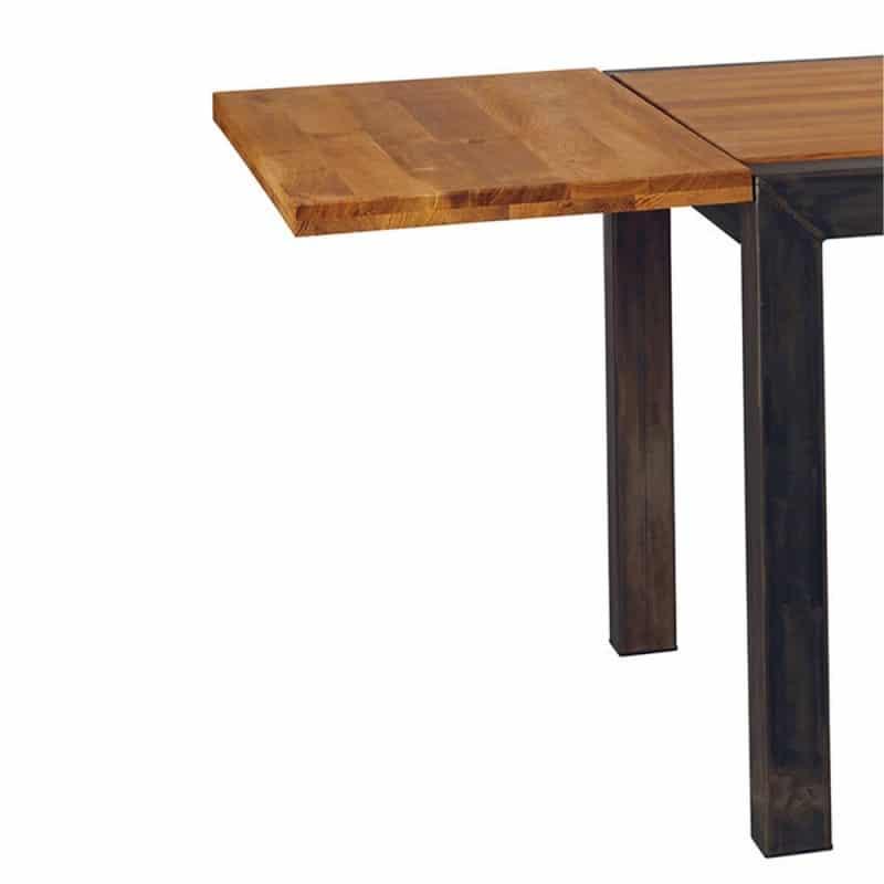 Rallonge sur une table industrielle (bois et métal)