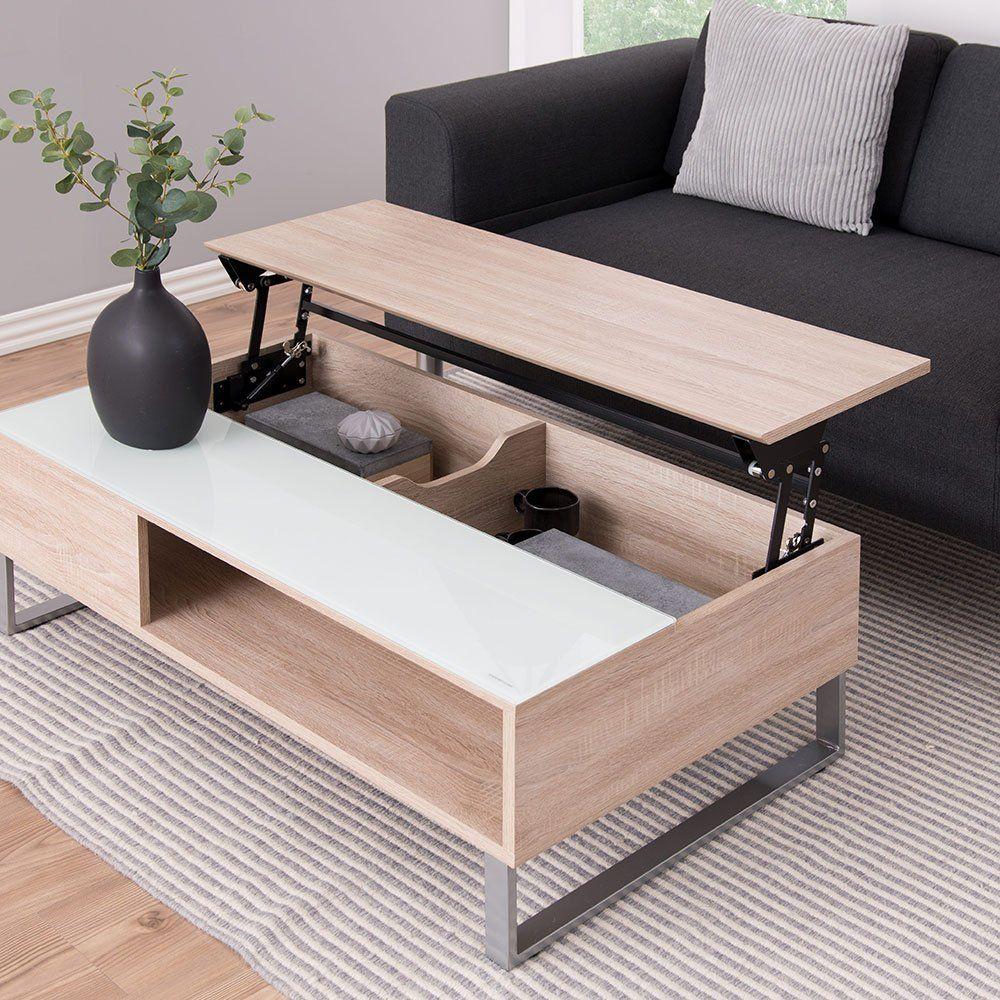 table basse relevable pour gagner de la place dans le salon